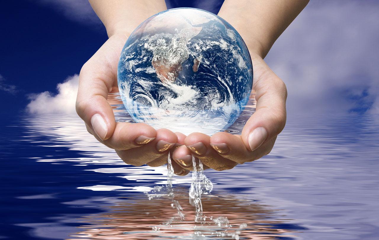Rheuma Akademie Weltkugel Hände Wasser